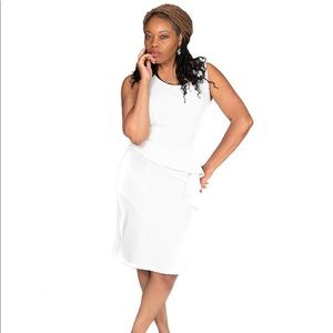 J Bri Designs Off White Dress with side ruffle